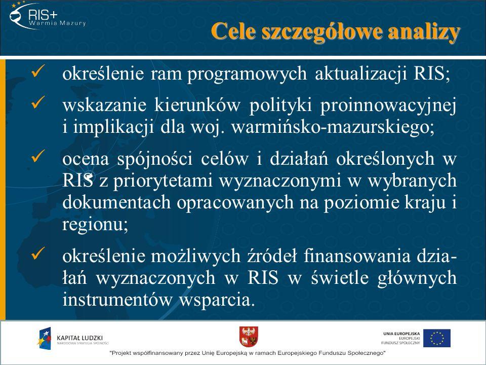Cele szczegółowe analizy określenie ram programowych aktualizacji RIS; wskazanie kierunków polityki proinnowacyjnej i implikacji dla woj. warmińsko-ma