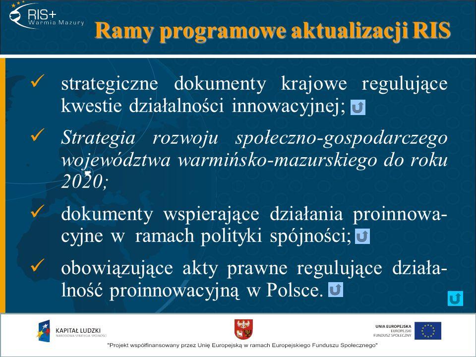 I kategoria dokumentów Strategia rozwoju kraju 2007-2015; Krajowy program reform 2008-2011; Kierunki zwiększania innowacyjności gospo- darki na lata 2007-2013; Założenia polityki naukowej, naukowo-techni- cznej i innowacyjnej państwa do 2020 r.; Strategia rozwoju społeczno-gospodarczego Polski Wschodniej do 2020 r.