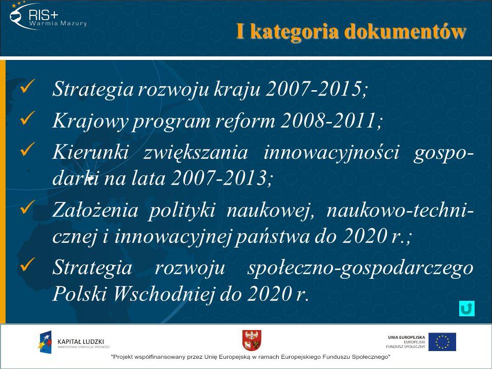 II kategoria dokumentów Strategiczne wytyczne Wspólnoty dla spójności gospodarczej, społecznej i terytorialnej na lata 2007-2013; Narodowe strategiczne ramy odniesienia 2007- 2013 wspierające wzrost gospodarczy i zatru- dnienie.