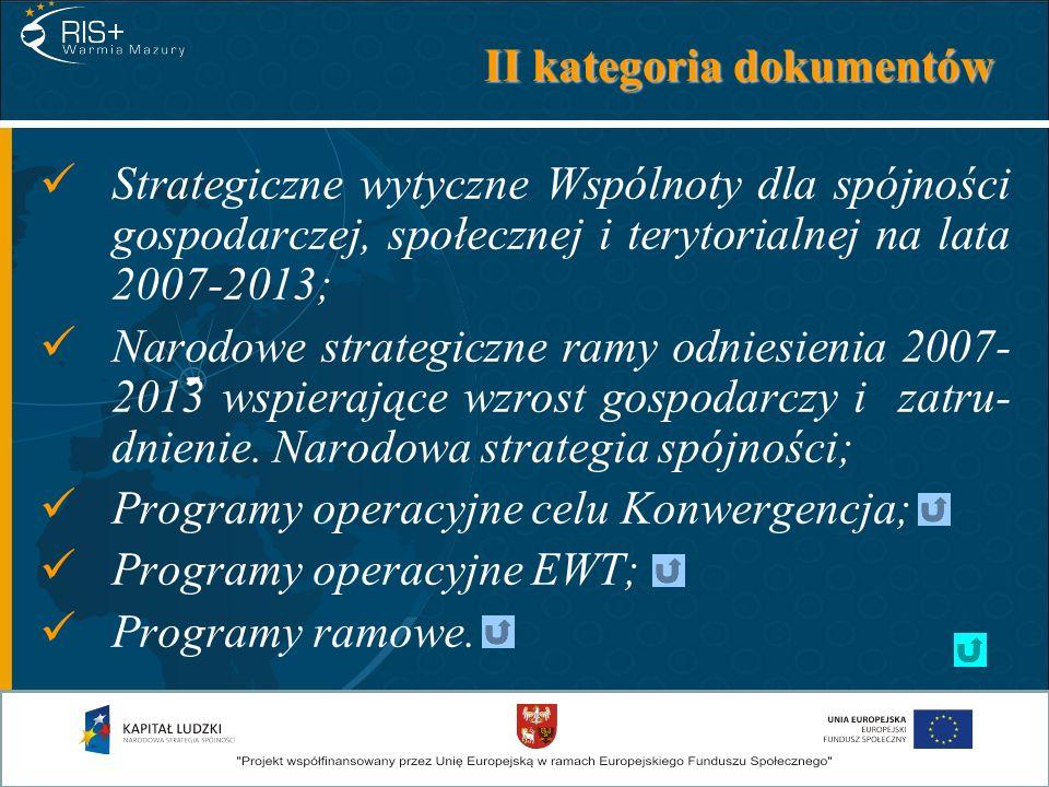 II kategoria dokumentów Strategiczne wytyczne Wspólnoty dla spójności gospodarczej, społecznej i terytorialnej na lata 2007-2013; Narodowe strategiczn