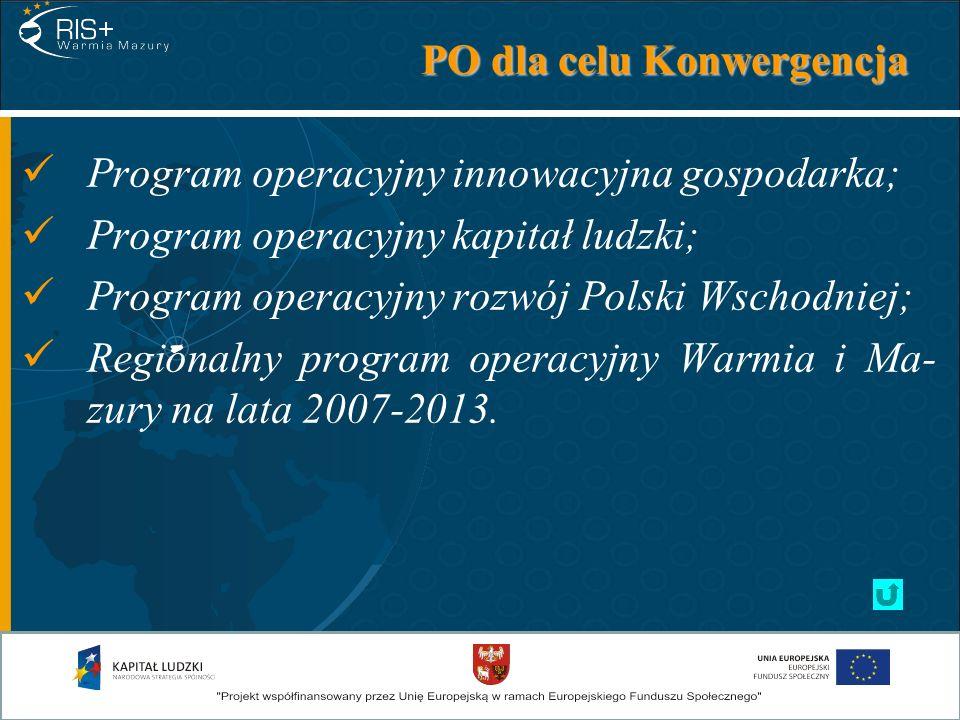 PO dla celu Konwergencja Program operacyjny innowacyjna gospodarka; Program operacyjny kapitał ludzki; Program operacyjny rozwój Polski Wschodniej; Re