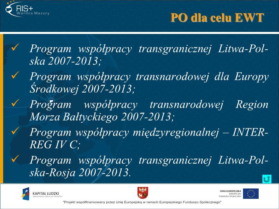 PO dla celu EWT Program współpracy transgranicznej Litwa-Pol- ska 2007-2013; Program współpracy transnarodowej dla Europy Środkowej 2007-2013; Program