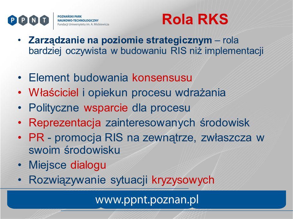 Rola RKS Zarządzanie na poziomie strategicznym – rola bardziej oczywista w budowaniu RIS niż implementacji Element budowania konsensusu Właściciel i opiekun procesu wdrażania Polityczne wsparcie dla procesu Reprezentacja zainteresowanych środowisk PR - promocja RIS na zewnątrze, zwłaszcza w swoim środowisku Miejsce dialogu Rozwiązywanie sytuacji kryzysowych