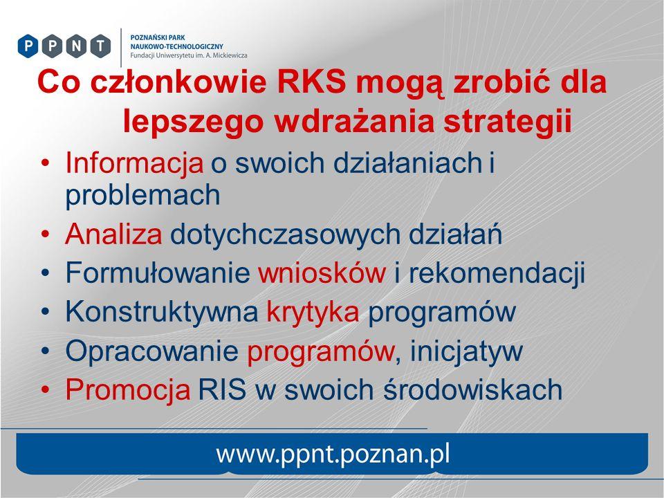 Co członkowie RKS mogą zrobić dla lepszego wdrażania strategii Informacja o swoich działaniach i problemach Analiza dotychczasowych działań Formułowanie wniosków i rekomendacji Konstruktywna krytyka programów Opracowanie programów, inicjatyw Promocja RIS w swoich środowiskach