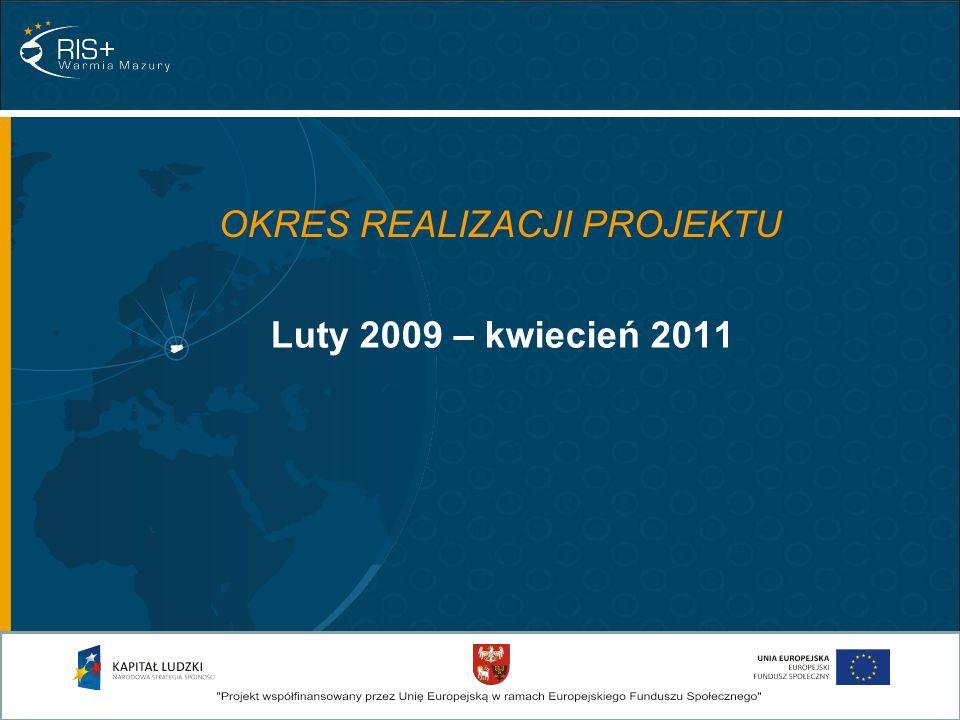 OKRES REALIZACJI PROJEKTU Luty 2009 – kwiecień 2011