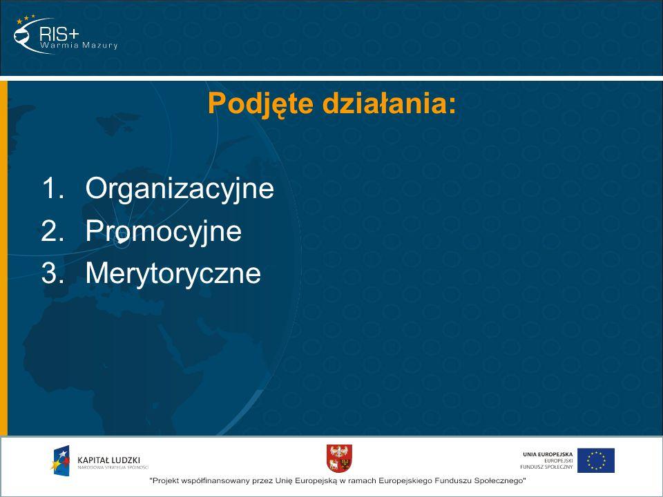 Podjęte działania: 1.Organizacyjne 2.Promocyjne 3.Merytoryczne
