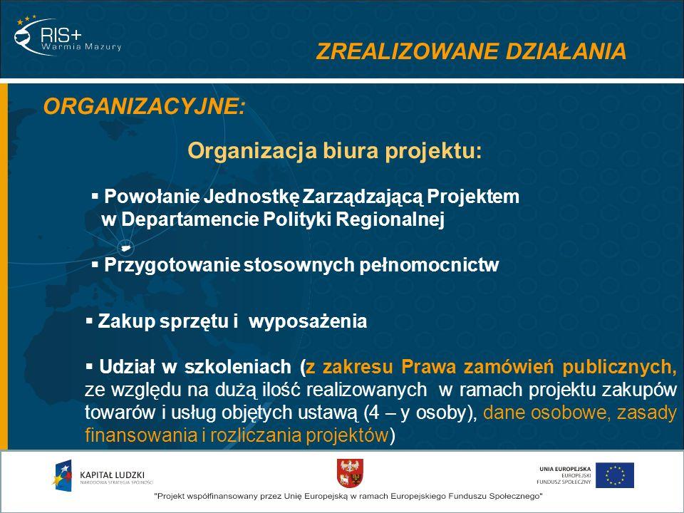 ZREALIZOWANE DZIAŁANIA ORGANIZACYJNE: Powołanie Jednostkę Zarządzającą Projektem w Departamencie Polityki Regionalnej Przygotowanie stosownych pełnomocnictw Zakup sprzętu i wyposażenia Udział w szkoleniach (z zakresu Prawa zamówień publicznych, ze względu na dużą ilość realizowanych w ramach projektu zakupów towarów i usług objętych ustawą (4 – y osoby), dane osobowe, zasady finansowania i rozliczania projektów) Organizacja biura projektu: