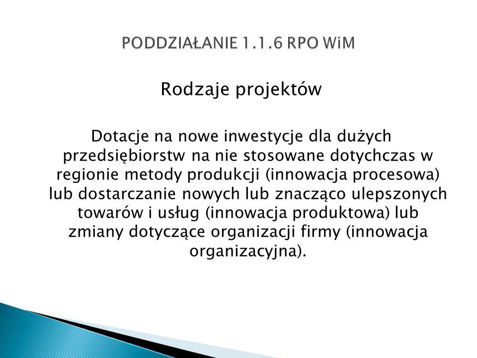 Rodzaje projektów Dotacje na nowe inwestycje dla dużych przedsiębiorstw na nie stosowane dotychczas w regionie metody produkcji (innowacja procesowa)