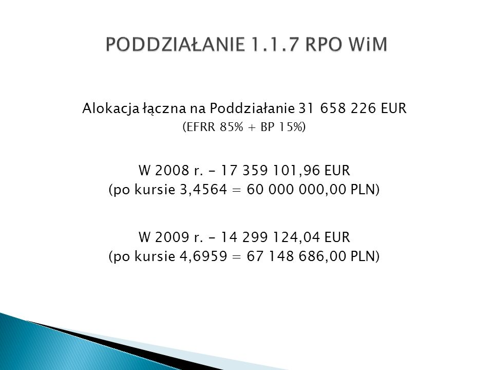 Alokacja łączna na Poddziałanie 31 658 226 EUR (EFRR 85% + BP 15%) W 2008 r. - 17 359 101,96 EUR (po kursie 3,4564 = 60 000 000,00 PLN) W 2009 r. - 14