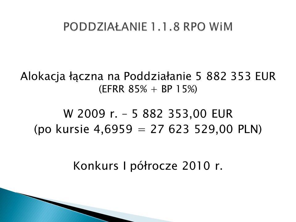 Alokacja łączna na Poddziałanie 5 882 353 EUR (EFRR 85% + BP 15%) W 2009 r. – 5 882 353,00 EUR (po kursie 4,6959 = 27 623 529,00 PLN) Konkurs I półroc