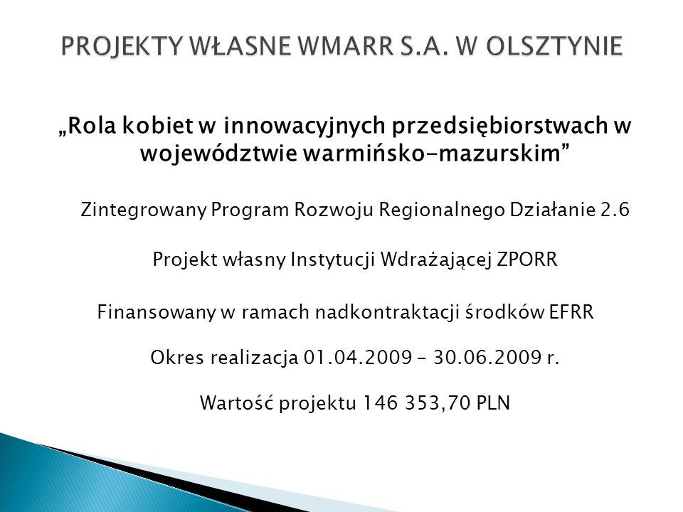 Rola kobiet w innowacyjnych przedsiębiorstwach w województwie warmińsko-mazurskim Zintegrowany Program Rozwoju Regionalnego Działanie 2.6 Projekt włas