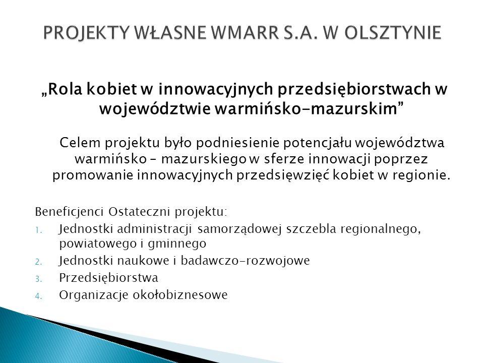 Rola kobiet w innowacyjnych przedsiębiorstwach w województwie warmińsko-mazurskim Celem projektu było podniesienie potencjału województwa warmińsko –