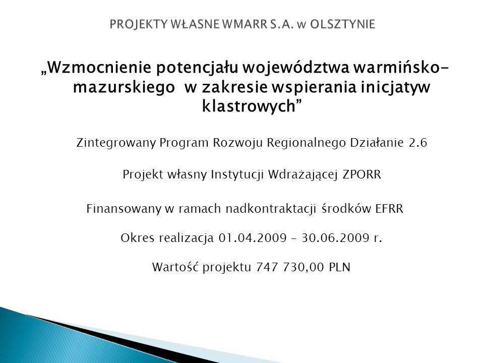 Wzmocnienie potencjału województwa warmińsko- mazurskiego w zakresie wspierania inicjatyw klastrowych Zintegrowany Program Rozwoju Regionalnego Działa