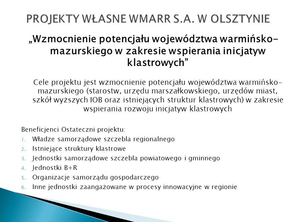 Wzmocnienie potencjału województwa warmińsko- mazurskiego w zakresie wspierania inicjatyw klastrowych Cele projektu jest wzmocnienie potencjału wojewó