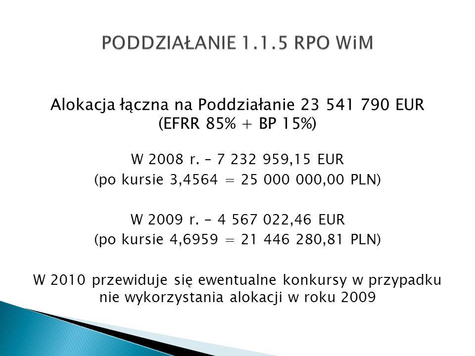 Alokacja łączna na Poddziałanie 23 541 790 EUR (EFRR 85% + BP 15%) W 2008 r. – 7 232 959,15 EUR (po kursie 3,4564 = 25 000 000,00 PLN) W 2009 r. - 4 5