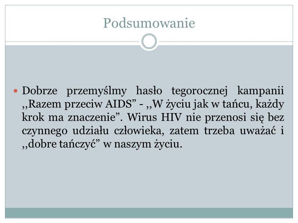 Podsumowanie Dobrze przemyślmy hasło tegorocznej kampanii,,Razem przeciw AIDS -,,W życiu jak w tańcu, każdy krok ma znaczenie. Wirus HIV nie przenosi