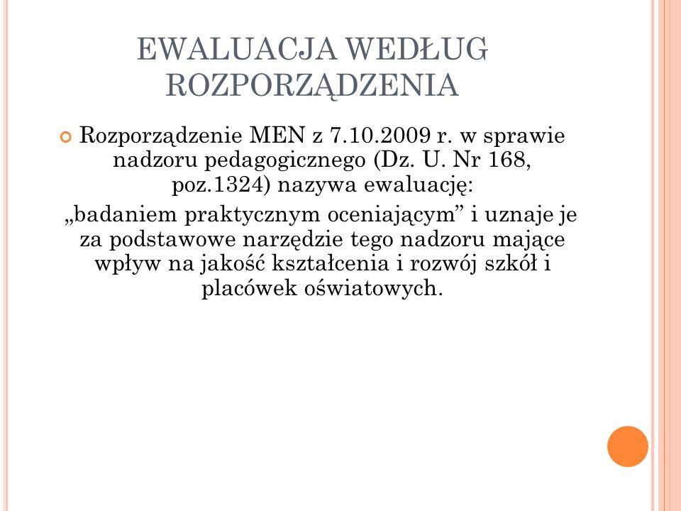 EWALUACJA WEDŁUG ROZPORZĄDZENIA Rozporządzenie MEN z 7.10.2009 r. w sprawie nadzoru pedagogicznego (Dz. U. Nr 168, poz.1324) nazywa ewaluację: badanie