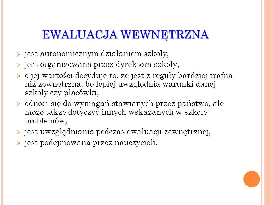 EWALUACJA WEWNĘTRZNA jest autonomicznym działaniem szkoły, jest organizowana przez dyrektora szkoły, o jej wartości decyduje to, ze jest z reguły bard