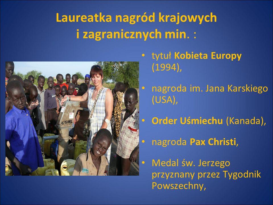 tytuł Kobieta Europy (1994), nagroda im. Jana Karskiego (USA), Order Uśmiechu (Kanada), nagroda Pax Christi, Medal św. Jerzego przyznany przez Tygodni