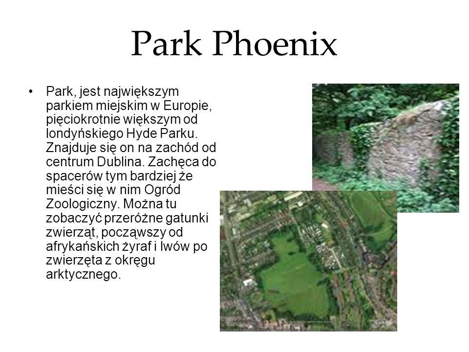 Park Phoenix Park, jest największym parkiem miejskim w Europie, pięciokrotnie większym od londyńskiego Hyde Parku. Znajduje się on na zachód od centru
