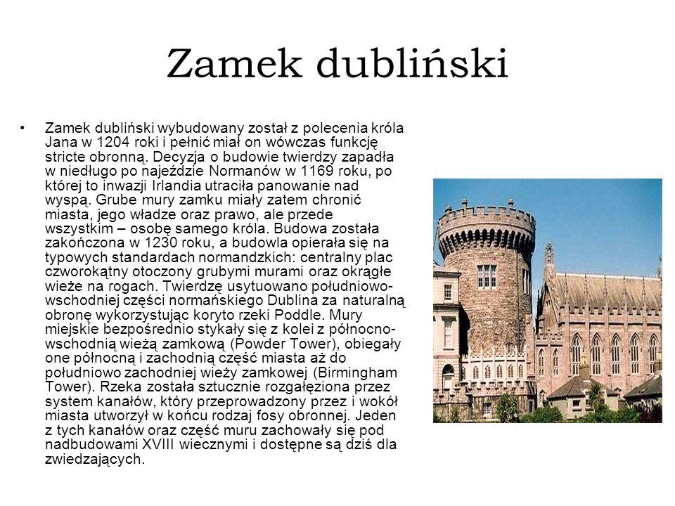 Zamek dubliński Zamek dubliński wybudowany został z polecenia króla Jana w 1204 roki i pełnić miał on wówczas funkcję stricte obronną. Decyzja o budow