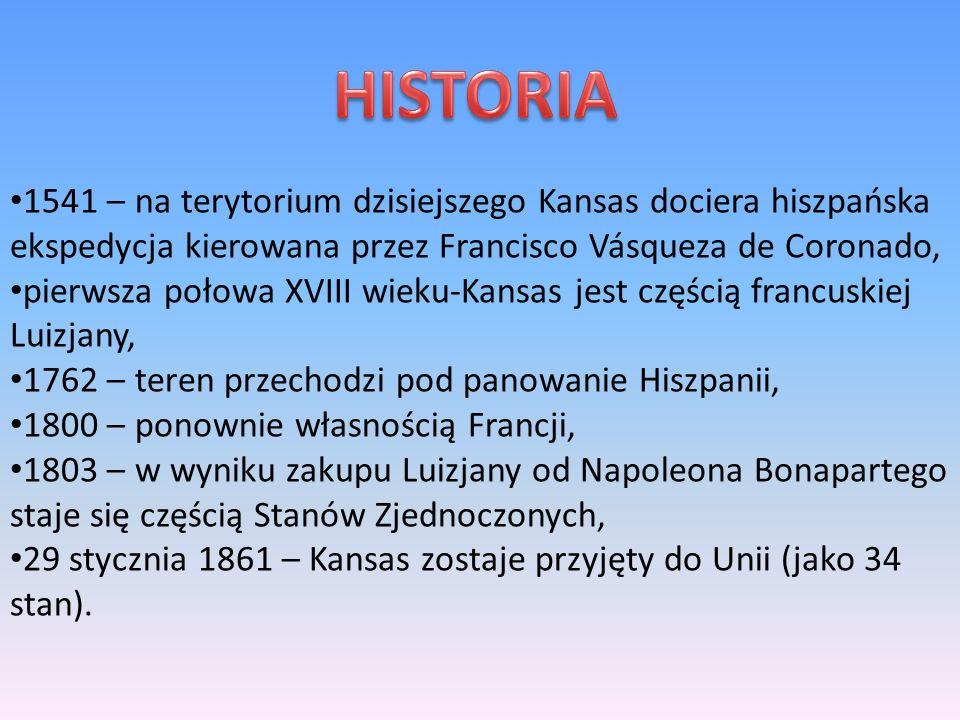 1541 – na terytorium dzisiejszego Kansas dociera hiszpańska ekspedycja kierowana przez Francisco Vásqueza de Coronado, pierwsza połowa XVIII wieku-Kansas jest częścią francuskiej Luizjany, 1762 – teren przechodzi pod panowanie Hiszpanii, 1800 – ponownie własnością Francji, 1803 – w wyniku zakupu Luizjany od Napoleona Bonapartego staje się częścią Stanów Zjednoczonych, 29 stycznia 1861 – Kansas zostaje przyjęty do Unii (jako 34 stan).