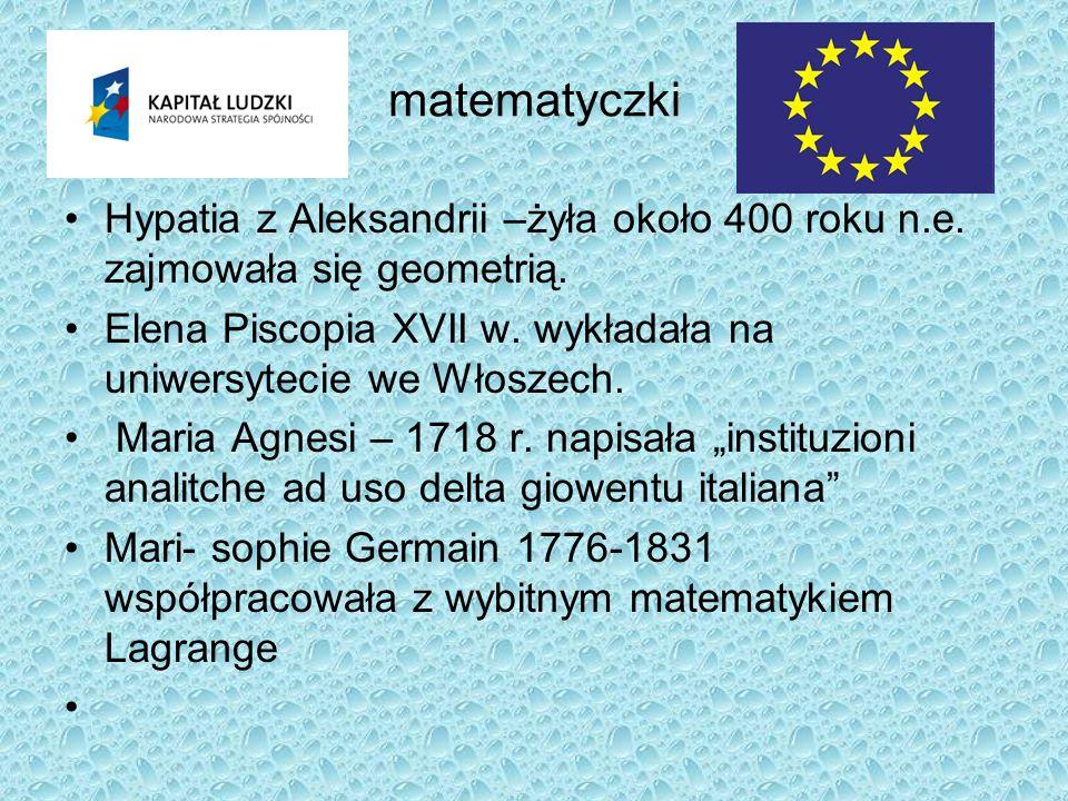 matematyczki Hypatia z Aleksandrii –żyła około 400 roku n.e. zajmowała się geometrią. Elena Piscopia XVII w. wykładała na uniwersytecie we Włoszech. M