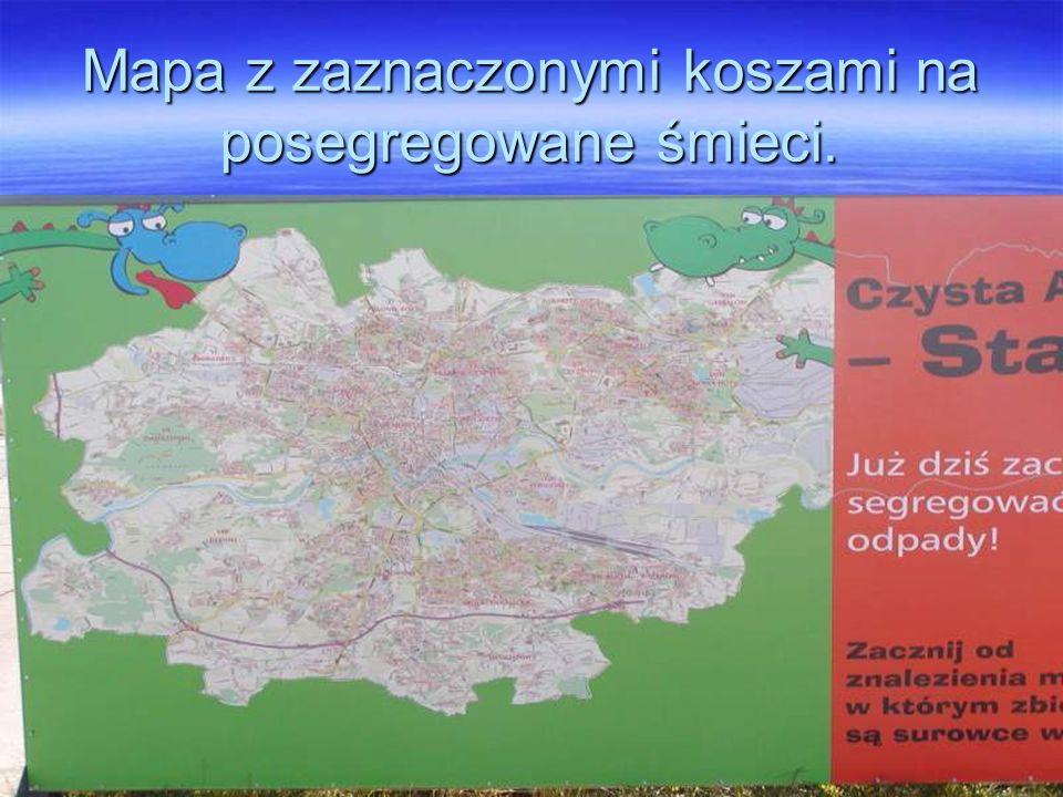 Mapa z zaznaczonymi koszami na posegregowane śmieci.