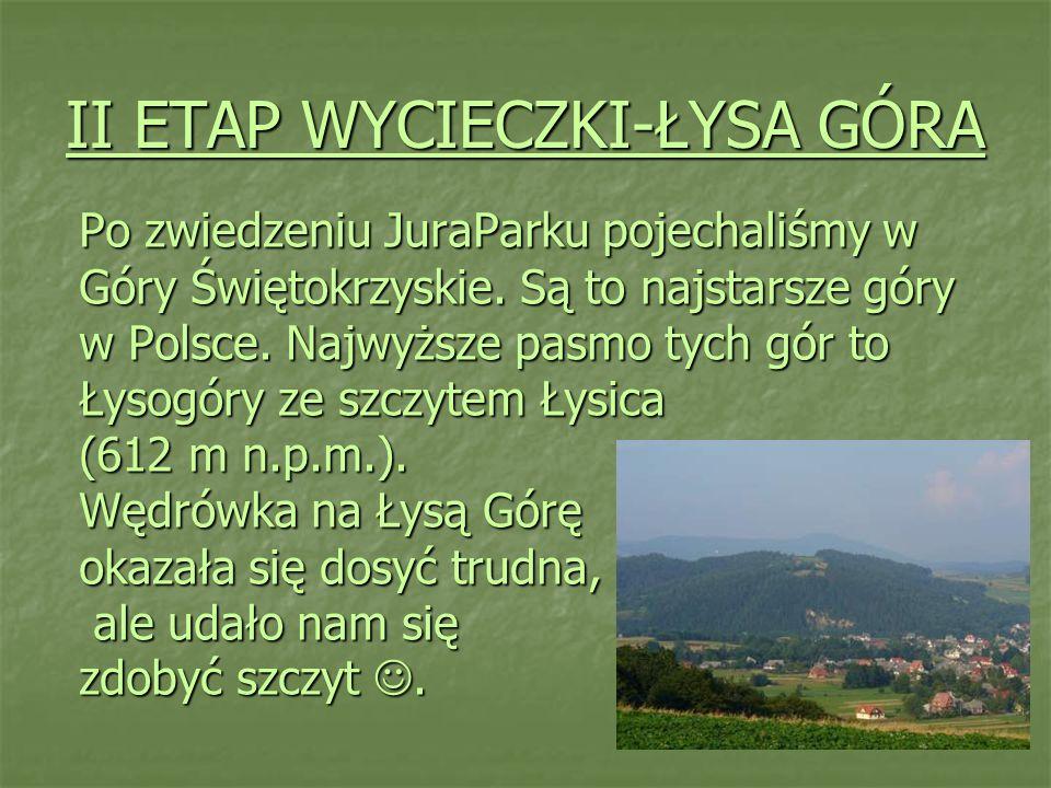 II ETAP WYCIECZKI-ŁYSA GÓRA Po zwiedzeniu JuraParku pojechaliśmy w Góry Świętokrzyskie. Są to najstarsze góry w Polsce. Najwyższe pasmo tych gór to Ły