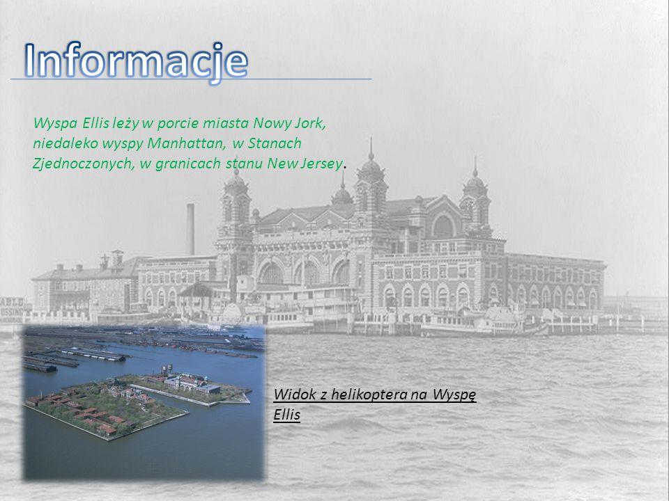 Wyspa Ellis leży w porcie miasta Nowy Jork, niedaleko wyspy Manhattan, w Stanach Zjednoczonych, w granicach stanu New Jersey. Widok z helikoptera na W