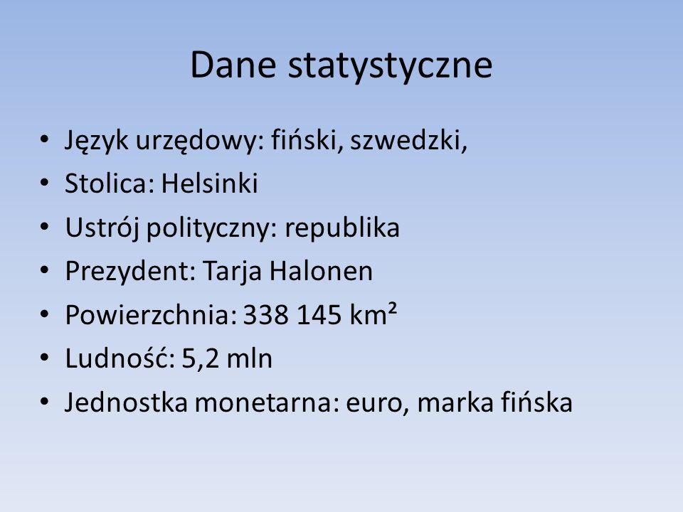 Dane statystyczne Język urzędowy: fiński, szwedzki, Stolica: Helsinki Ustrój polityczny: republika Prezydent: Tarja Halonen Powierzchnia: 338 145 km²