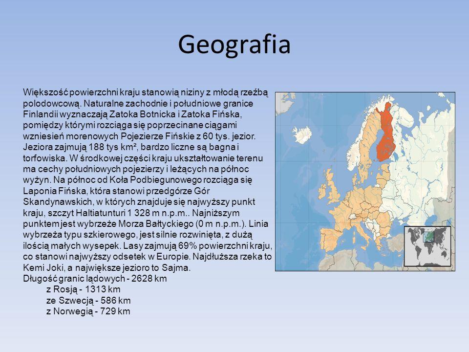 Geografia Większość powierzchni kraju stanowią niziny z młodą rzeźbą polodowcową. Naturalne zachodnie i południowe granice Finlandii wyznaczają Zatoka