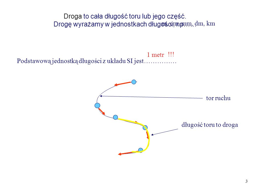 3 Droga to cała długość toru lub jego część.