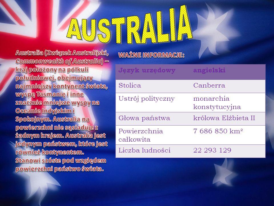 Język urzędowyangielski StolicaCanberra Ustrój politycznymonarchia konstytucyjna Głowa państwakrólowa Elżbieta II Powierzchnia całkowita 7 686 850 km²
