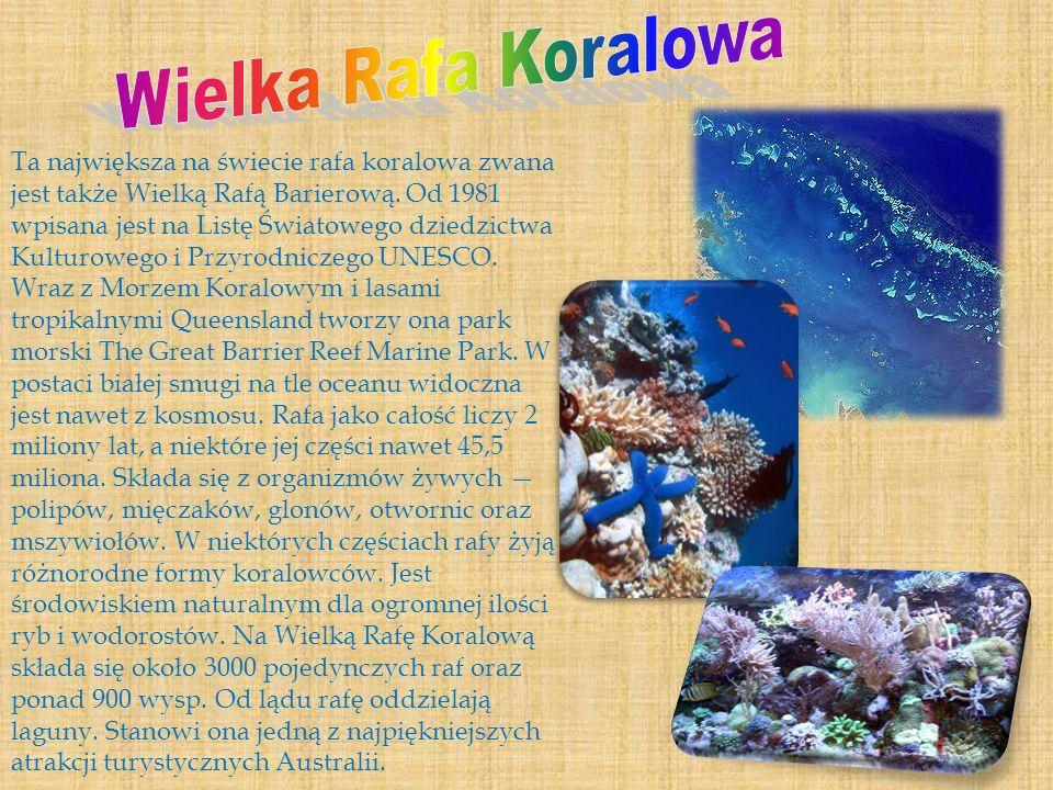 Ta największa na świecie rafa koralowa zwana jest także Wielką Rafą Barierową. Od 1981 wpisana jest na Listę Światowego dziedzictwa Kulturowego i Przy