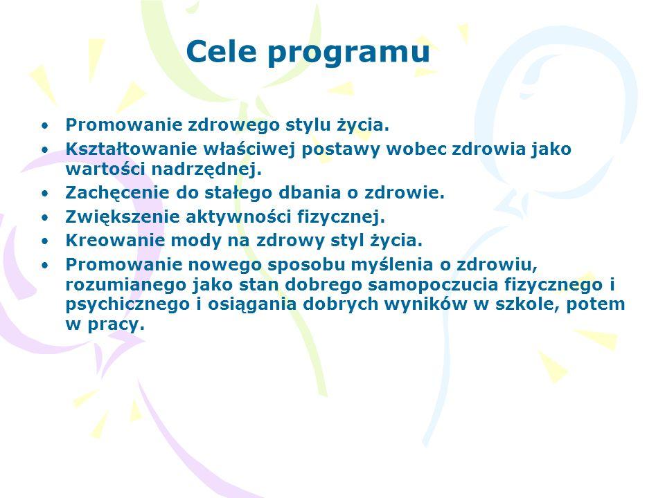 Cele programu Promowanie zdrowego stylu życia. Kształtowanie właściwej postawy wobec zdrowia jako wartości nadrzędnej. Zachęcenie do stałego dbania o