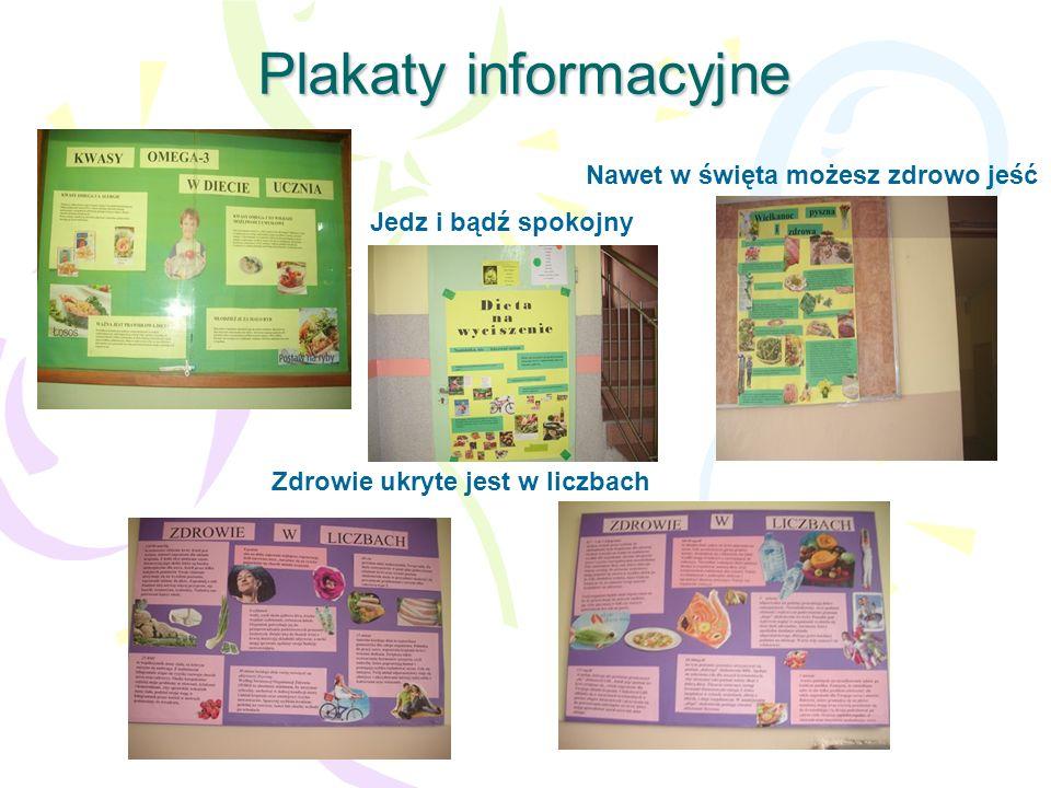 Plakaty informacyjne Zdrowie ukryte jest w liczbach Nawet w święta możesz zdrowo jeść Jedz i bądź spokojny