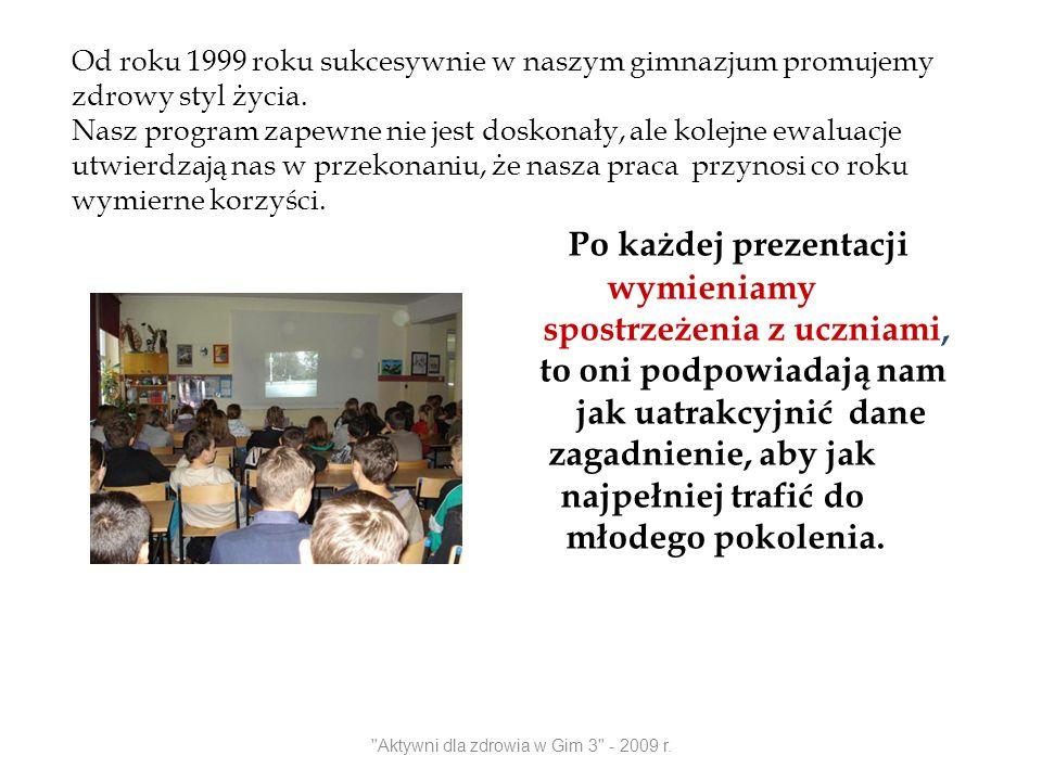 Aktywni dla zdrowia w Gim 3 - 2009 r. Ćwicz z nami !!!