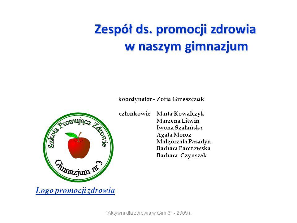Aktywni dla zdrowia w Gim 3 - 2009 r.Piramida zdrowego żywienia wg.