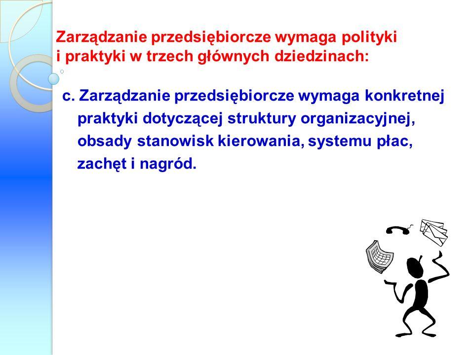 Zarządzanie przedsiębiorcze wymaga polityki i praktyki w trzech głównych dziedzinach: c. Zarządzanie przedsiębiorcze wymaga konkretnej praktyki dotycz