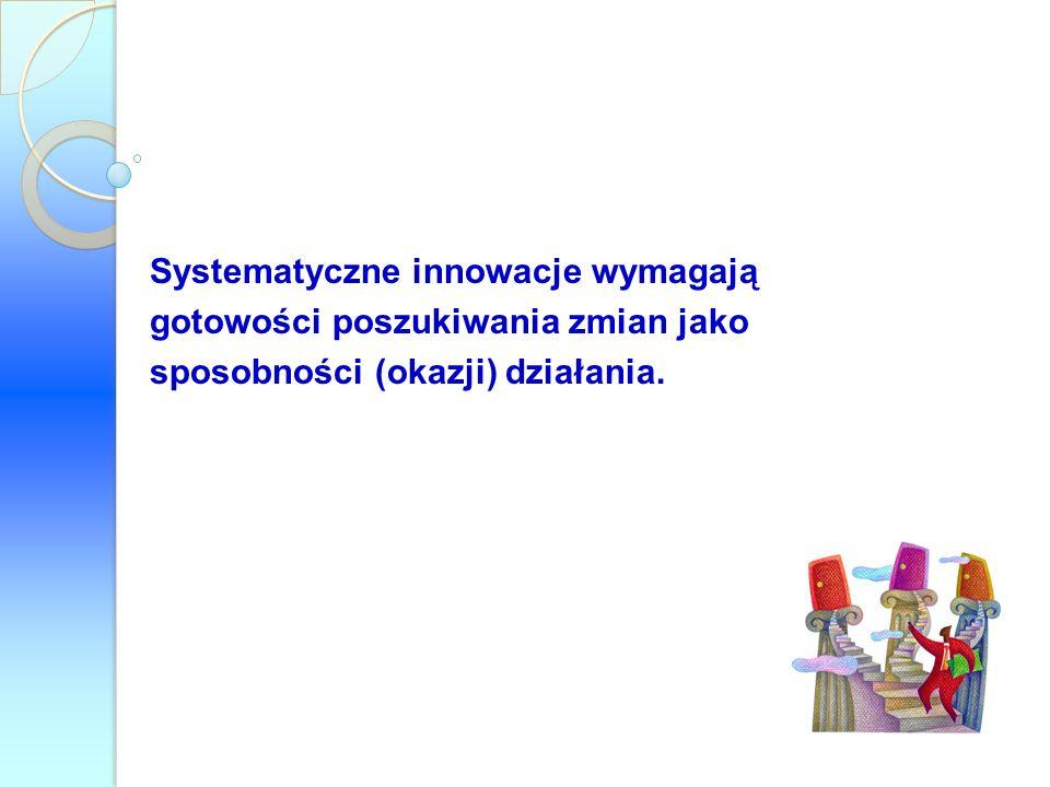 Systematyczne innowacje wymagają gotowości poszukiwania zmian jako sposobności (okazji) działania.