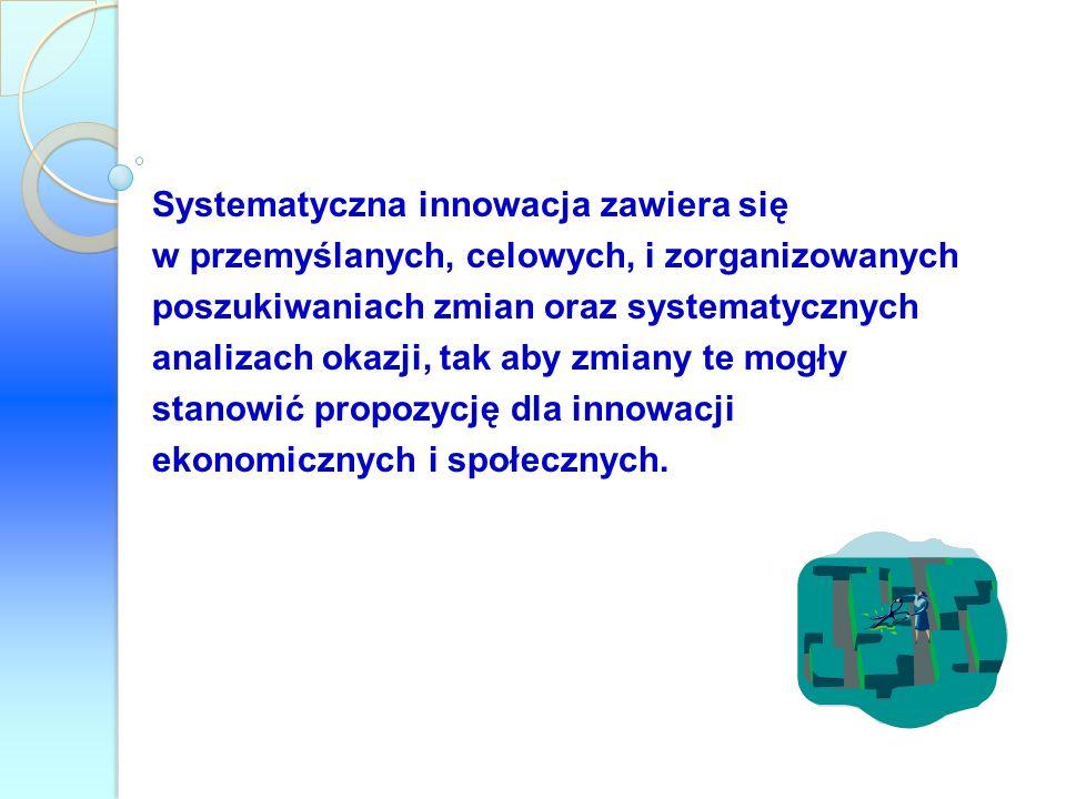 Systematyczna innowacja zawiera się w przemyślanych, celowych, i zorganizowanych poszukiwaniach zmian oraz systematycznych analizach okazji, tak aby z