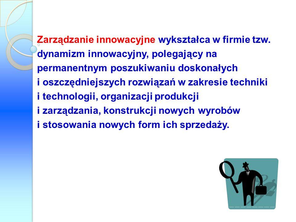 Zarządzanie innowacyjne wykształca w firmie tzw. dynamizm innowacyjny, polegający na permanentnym poszukiwaniu doskonałych i oszczędniejszych rozwiąza