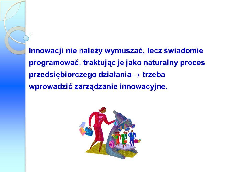 Innowacji nie należy wymuszać, lecz świadomie programować, traktując je jako naturalny proces przedsiębiorczego działania trzeba wprowadzić zarządzani