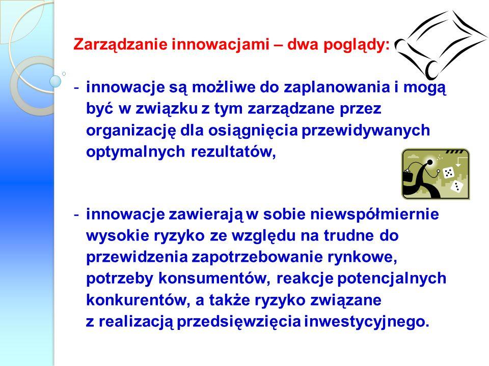 Zarządzanie innowacjami – dwa poglądy: -innowacje są możliwe do zaplanowania i mogą być w związku z tym zarządzane przez organizację dla osiągnięcia p