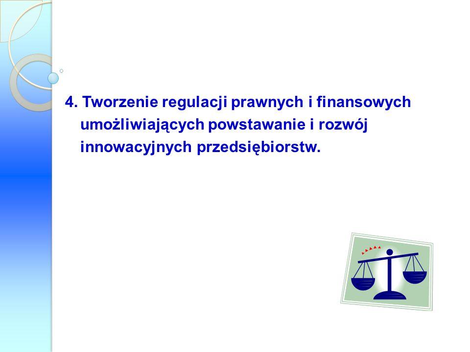 4. Tworzenie regulacji prawnych i finansowych umożliwiających powstawanie i rozwój innowacyjnych przedsiębiorstw.