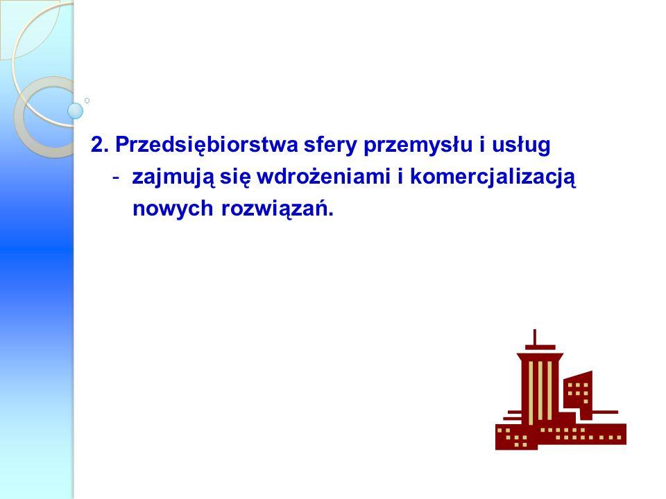 2. Przedsiębiorstwa sfery przemysłu i usług -zajmują się wdrożeniami i komercjalizacją nowych rozwiązań.