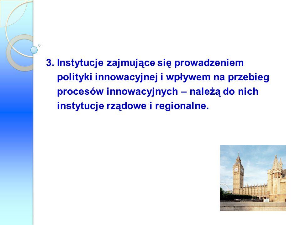 3. Instytucje zajmujące się prowadzeniem polityki innowacyjnej i wpływem na przebieg procesów innowacyjnych – należą do nich instytucje rządowe i regi
