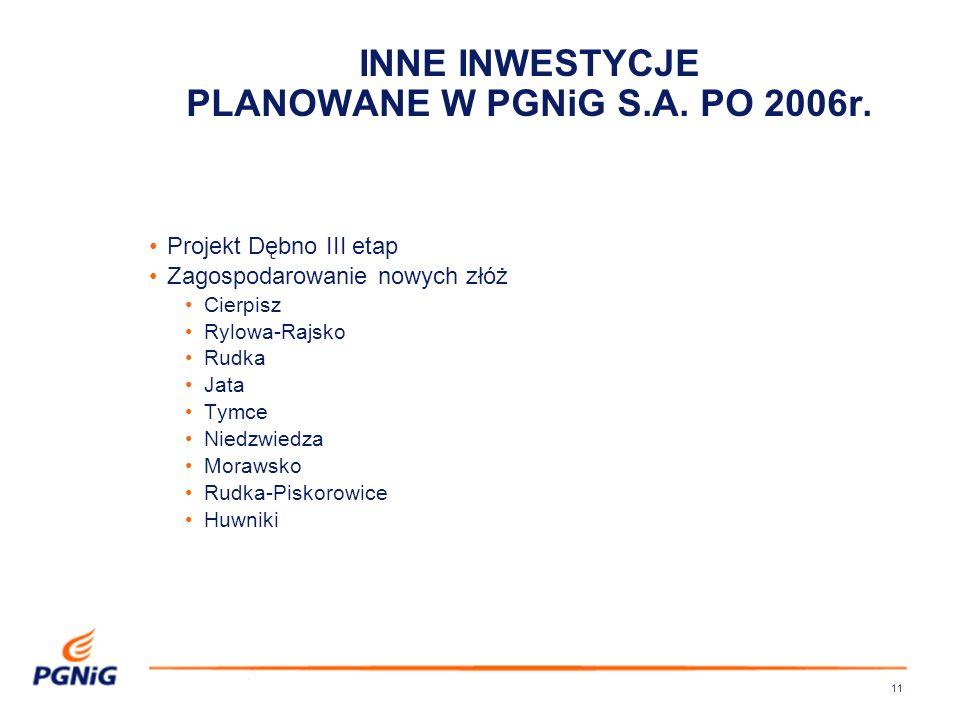 11 INNE INWESTYCJE PLANOWANE W PGNiG S.A.PO 2006r.