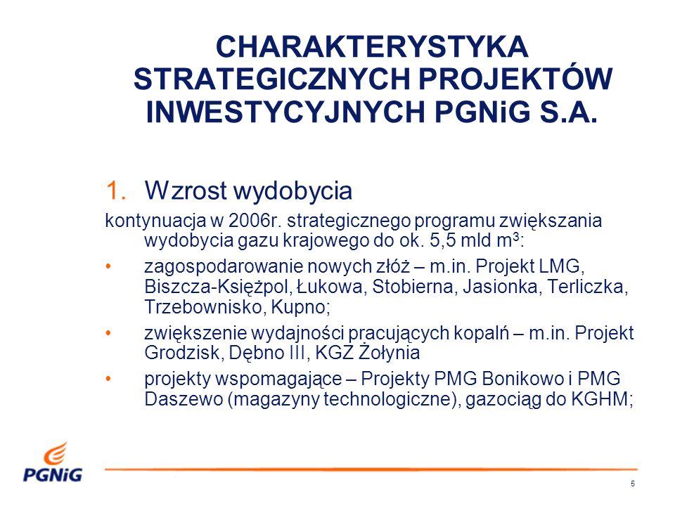 5 CHARAKTERYSTYKA STRATEGICZNYCH PROJEKTÓW INWESTYCYJNYCH PGNiG S.A.